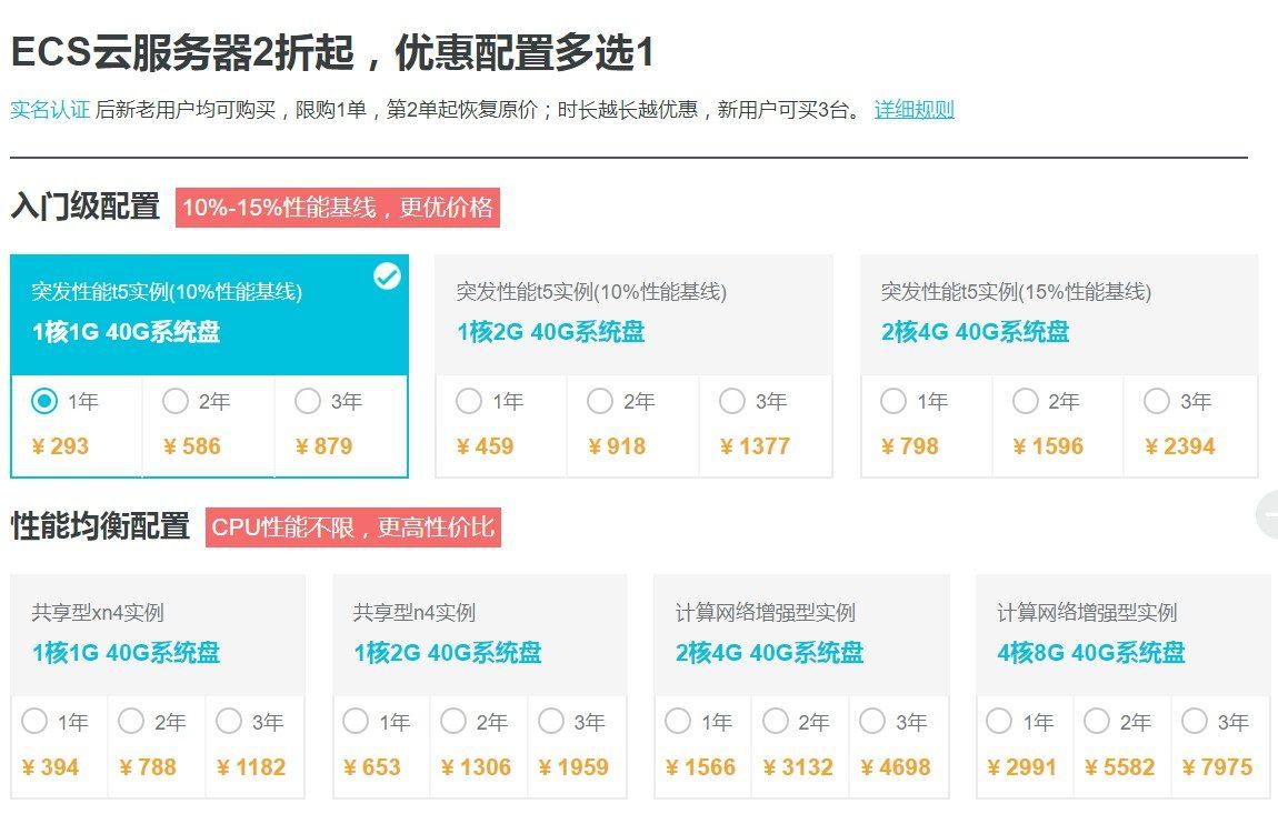 阿里云:香港CN2/国内VPS,1GB内存,40GB空间,年付293元